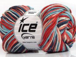 Lot of 8 Skeins Ice Yarns LORENA PRINT (55% Cotton) Yarn Blue Shades Salmon Red White