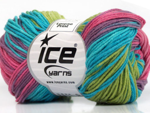 Lot of 8 Skeins Ice Yarns LORENA PRINT (55% Cotton) Yarn Pink Lilac Turquoise Green Shades