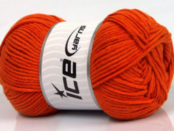 Lot of 4 x 100gr Skeins Ice Yarns LORENA WORSTED (55% Cotton) Yarn Orange