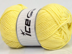 Lot of 4 x 100gr Skeins Ice Yarns LORENA WORSTED (55% Cotton) Yarn Light Yellow