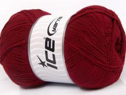 Lot of 4 x 100gr Skeins Ice Yarns LORENA SUPERFINE (55% Cotton) Yarn Burgundy