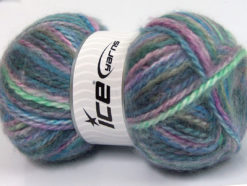 Lot of 2 x 150gr Skeins Ice Yarns SuperBulky ALPINE ANGORA COLOR (30% Angora) Yarn Blue Green Lavender