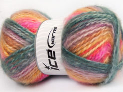 Lot of 2 x 150gr Skeins Ice Yarns SuperBulky ALPINE ANGORA COLOR (30% Angora) Yarn Teal Lilac Pink Gold