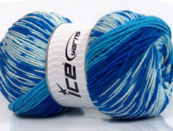 Lot of 2 x 150gr Skeins Ice Yarns JACQUARD WOOL (30% Wool) Yarn Blue Shades