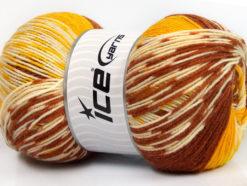 Lot of 2 x 150gr Skeins Ice Yarns JACQUARD WOOL (30% Wool) Yarn Copper Yellow Cream