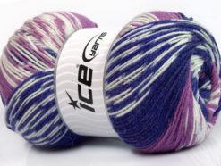 Lot of 2 x 150gr Skeins Ice Yarns JACQUARD WOOL (30% Wool) Yarn Purple Lilac White