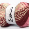 Lot of 2 x 150gr Skeins Ice Yarns JACQUARD WOOL (30% Wool) Yarn Burgundy Pink Cream