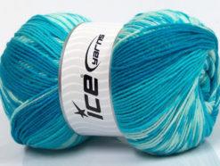 Lot of 2 x 150gr Skeins Ice Yarns JACQUARD WOOL (30% Wool) Yarn Turquoise Shades