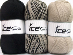 Lot of 3 x 100gr Skeins Ice Yarns BABY OMBRE Hand Knitting Yarn Beige Black