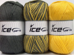 Lot of 3 x 100gr Skeins Ice Yarns BABY OMBRE Hand Knitting Yarn Grey Yellow