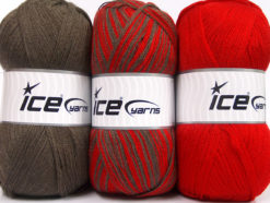 Lot of 3 x 100gr Skeins Ice Yarns BABY OMBRE Hand Knitting Yarn Brown Red