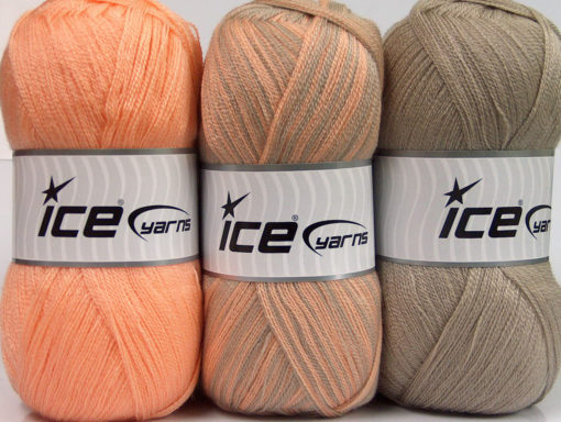 Lot of 3 x 100gr Skeins Ice Yarns BABY OMBRE Yarn Light Orange Camel