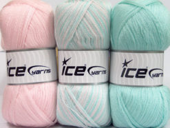 Lot of 3 x 100gr Skeins Ice Yarns BABY OMBRE Yarn Baby Pink Mint Green