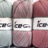Lot of 3 x 100gr Skeins Ice Yarns BABY OMBRE Yarn Light Grey Light Orchid