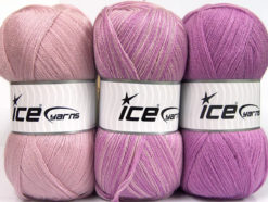 Lot of 3 x 100gr Skeins Ice Yarns BABY OMBRE Yarn Light Pink Lavender