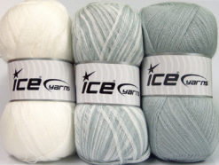 Lot of 3 x 100gr Skeins Ice Yarns BABY OMBRE Yarn White Light Grey