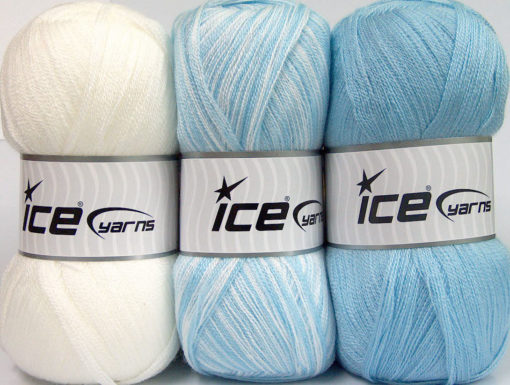 Lot of 3 x 100gr Skeins Ice Yarns BABY OMBRE Yarn White Baby Blue