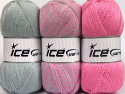 Lot of 3 x 100gr Skeins Ice Yarns BABY OMBRE Hand Knitting Yarn Pink Grey