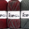 Lot of 3 x 100gr Skeins Ice Yarns BABY OMBRE Hand Knitting Yarn Burgundy Grey