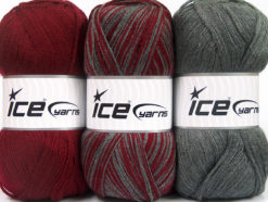 Lot of 3 x 100gr Skeins Ice Yarns BABY OMBRE Hand Knitting Yarn Burgundy Grey