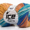 Lot of 8 Skeins Ice Yarns LORENA PRINT (55% Cotton) Yarn Turquoise Blue Shades Rose Brown Cafe Latte
