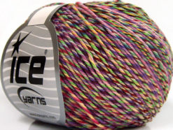 Lot of 8 Skeins Ice Yarns LORENA COLORFUL (55% Cotton) Yarn Lilac Shades Maroon Pink Green