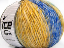 Lot of 4 x 100gr Skeins Ice Yarns ROSETO WORSTED (30% Wool) Yarn Yellow Blue Shades Brown Grey