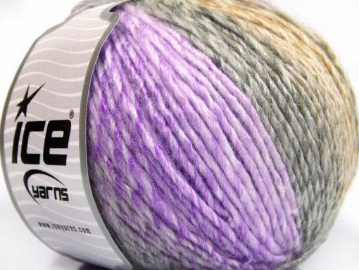 Lot of 4 x 100gr Skeins Ice Yarns ROSETO WORSTED (30% Wool) Yarn Lilac Shades Grey Shades Camel