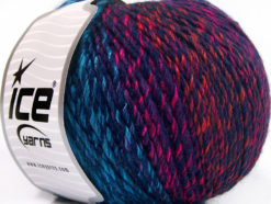 Lot of 4 x 100gr Skeins Ice Yarns ROSETO WORSTED (30% Wool) Yarn Navy Turquoise Pink Orange