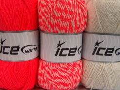Lot of 3 x 100gr Skeins Ice Yarns OMBRE Hand Knitting Yarn Neon Pink Ecru