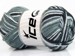 Lot of 4 x 100gr Skeins Ice Yarns NATURAL COTTON COLOR (100% Cotton) Yarn Black Grey White