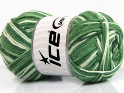 Lot of 4 x 100gr Skeins Ice Yarns NATURAL COTTON COLOR (100% Cotton) Yarn Green Shades