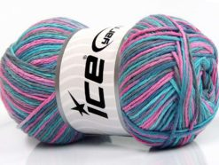 Lot of 4 x 100gr Skeins Ice Yarns NATURAL COTTON COLOR (100% Cotton) Yarn Turquoise Teal Pink