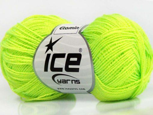 Lot of 10 Skeins Ice Yarns ETAMIN Hand Knitting Yarn Neon Yellow