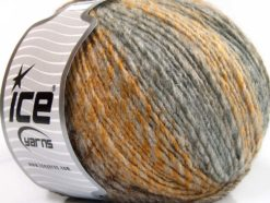 Lot of 4 x 100gr Skeins Ice Yarns ROSETO WORSTED (30% Wool) Yarn Grey Shades Gold
