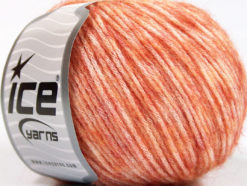 Lot of 8 Skeins Ice Yarns BAMBOO SOFTAIR (15% Bamboo) Yarn Salmon Melange