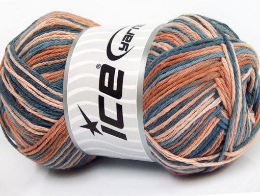 Lot of 4 x 100gr Skeins Ice Yarns NATURAL COTTON COLOR (100% Cotton) Yarn Indigo Blue Light Brown Shades