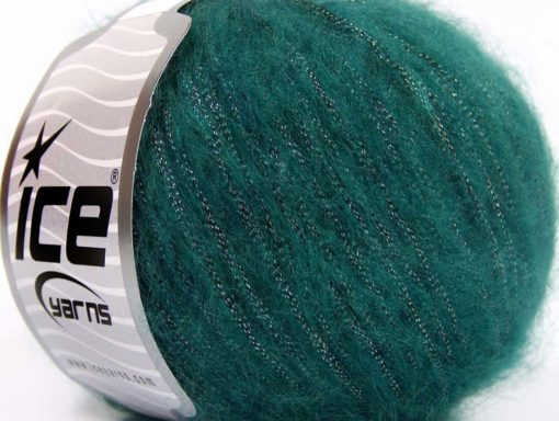 Lot of 8 Skeins Ice Yarns ROCK STAR METALLIC (25% Wool) Yarn Emerald Green