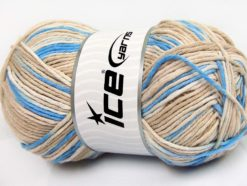 Lot of 2 x 200gr Skeins Ice Yarns NATURAL COTTON COLOR WORSTED (100% Cotton) Yarn Beige Cream Blue