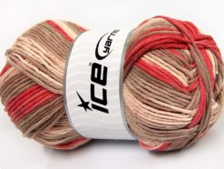 Lot of 2 x 200gr Skeins Ice Yarns NATURAL COTTON COLOR WORSTED (100% Cotton) Yarn Salmon Camel Cream