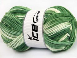 Lot of 2 x 200gr Skeins Ice Yarns NATURAL COTTON COLOR WORSTED (100% Cotton) Yarn Green Shades