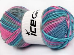 Lot of 2 x 200gr Skeins Ice Yarns NATURAL COTTON COLOR WORSTED (100% Cotton) Yarn Turquoise Blue Pink Grey