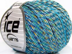 Lot of 8 Skeins Ice Yarns LORENA COLORFUL (55% Cotton) Yarn Turquoise Light Green Gold Purple