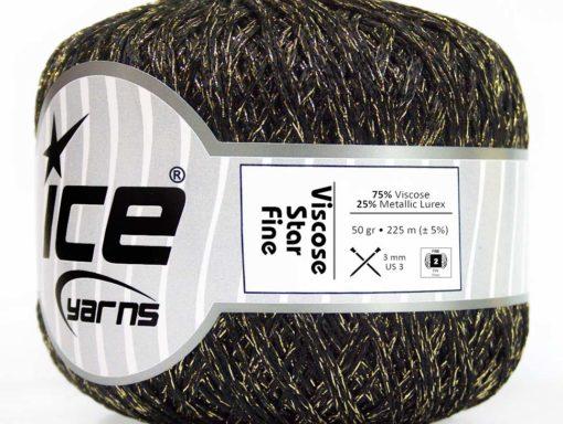 Lot of 6 Skeins Ice Yarns VISCOSE STAR FINE (75% Viscose) Yarn Black Gold