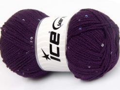 Lot of 4 x 100gr Skeins Ice Yarns CHAIN PAILLETTE (2% Paillette) Yarn Purple
