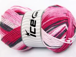Lot of 2 x 200gr Skeins Ice Yarns NATURAL COTTON COLOR WORSTED (100% Cotton) Yarn Pink Shades Black