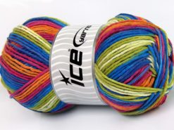 Lot of 2 x 200gr Skeins Ice Yarns NATURAL COTTON COLOR WORSTED (100% Cotton) Yarn Blue Green Orange Pink White