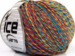 Lot of 8 Skeins Ice Yarns LORENA COLORFUL (55% Cotton) Yarn Orange Yellow Brown Turquoise