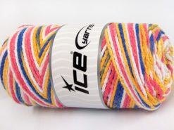 Lot of 2 x 200gr Skeins Ice Yarns SAVER CHAIN COLOR Yarn Pink White Gold Blue