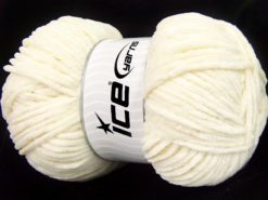 Lot of 4 x 100gr Skeins Ice Yarns CHENILLE BABY LIGHT (100% MicroFiber) Yarn Cream